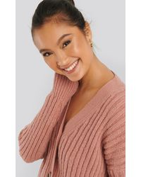 NA-KD Pink Mohair Blend Chunky Cropped Cardigan