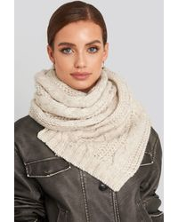 NA-KD Accessories Cableknit Scarf - Natur