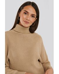 NA-KD Folded Knitted Sweater - Natur