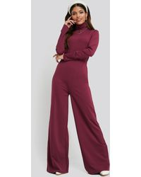 NA-KD Turtle Neck Long Sleeve Jersey Jumpsuit - Pink