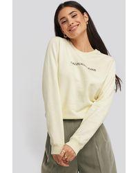 Calvin Klein Institutional Regular Crew Neck Sweater - Wit