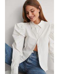 NA-KD White Puff Sleeve Cotton Shirt