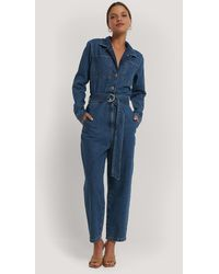 NA-KD Trend Jeans-Jumpsuit Mit Gürtel In Der Taille - Blau