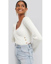 NA-KD White Button Detail Bell Sleeve Jumper