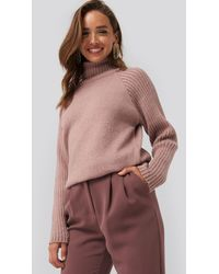 NA-KD High Neck Ribbed Sleeves Sweater - Roze