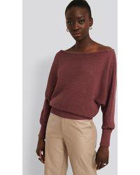 NA-KD Off Shoulder Knitted Sweater - Pink