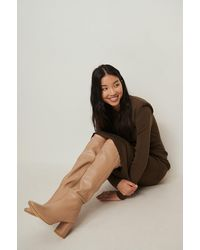 NA-KD Shoes Kniehohe Lederstiefel - Natur