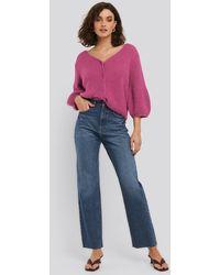 NA-KD High Waist Raw Hem Straight Jeans - Blauw