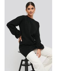 NA-KD Balloon Sleeve Knitted Long Sweater - Schwarz
