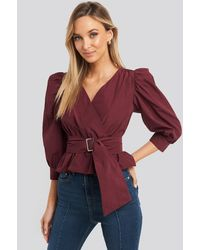 Trendyol Puff Sleeve Binding Detailed Blouse Red