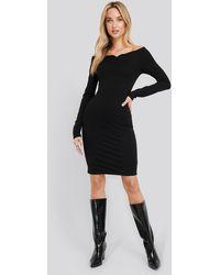 NA-KD Black Slip Shoulder Bodycon Dress