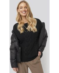 NA-KD Cable Knitted Ribbed Sleeve Sweater - Zwart
