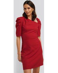 Trendyol Red Asymmetric Neck Mini Dress