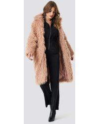 NA-KD Faux Fur Long Jacket - Braun