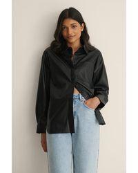 Calvin Klein Black Faux Leather Overshirt