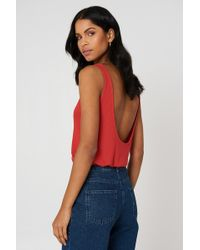 NA-KD - Ribbed Low Back Tank Top Red - Lyst