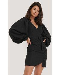 NA-KD Puff Sleeve Tie Waist Dress - Noir