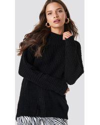 Glamorous Black Overlap Back Slit Knitted Jumper