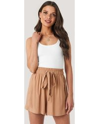 NA-KD Brown Belted Flowing Shorts