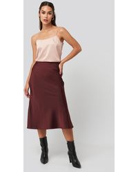 NA-KD Satin Skirt - Rood