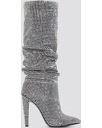 4d6c671380b Lyst - Steve Madden Crushing Embellished Ruched Boots in Black