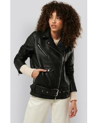 NA-KD Trend Oversized Faux Leather Jacket - Schwarz