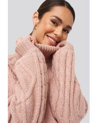 NA-KD Cable Sleeve Knitted Sweater - Roze