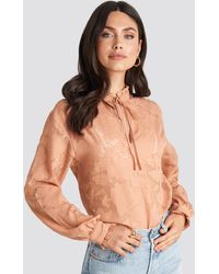 NA-KD Pink Jacquard Flower Frill Neck Blouse - Multicolor