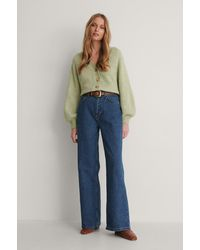 Trendyol Jean Jambe Large Taille Haute - Bleu