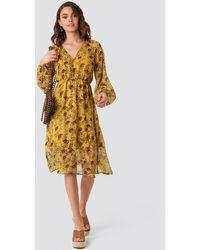 NA-KD Yellow Flower Print Midi Dress - Geel