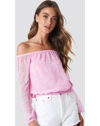 NA-KD Boho Chiffon Off Shoulder Blouse - Pink