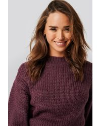 NA-KD Balloon Sleeve Oversized Knitted Sweater - Rot