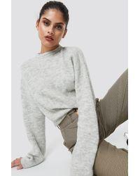 NA-KD Gray Alpaca Wool Blend Round Neck Sweater