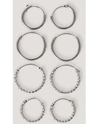 NA-KD Mini Hoop Earring Set - Metallic