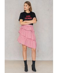NA-KD - Triple Layer Gingham Skirt Red - Lyst