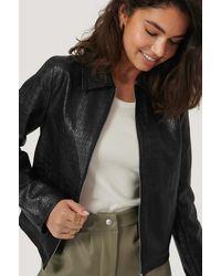 NA-KD Pu Reptile Zip Jacket - Zwart