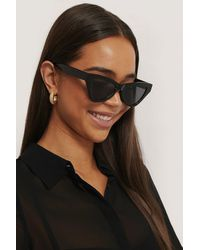NA-KD Sharp Triangular Cateye Sunglasses - Noir