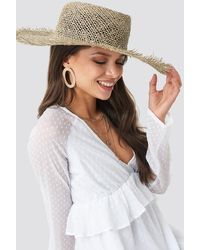NA-KD Big Raw Edge Straw Hat - Neutre