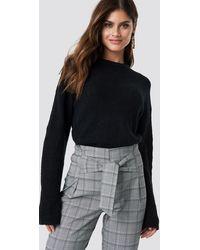 NA-KD Alpaca Wool Blend Round Neck Sweater - Zwart