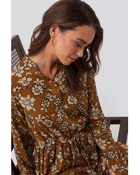 NA-KD Shirt Collar Midi Dress Multicolour - Brown