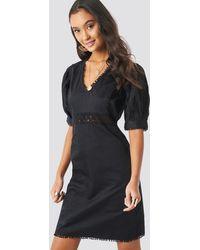 NA-KD - V-neck Crochet Detail Dress - Lyst