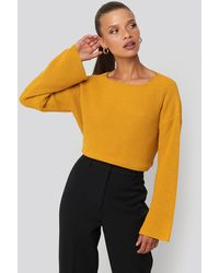 NA-KD Cropped Long Sleeve Knitted Sweater - Gelb