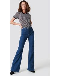 Trendyol - Front Line Detailed Flare Jeans Blue - Lyst