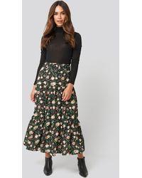 NA-KD Belted Floral Midi Skirt - Mehrfarbig