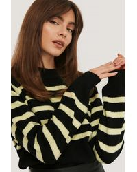 NA-KD Striped Knitted Sweater - Zwart