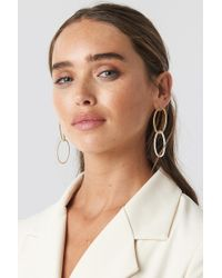 NA-KD Slim Chained Hoop Earrings Silver - Metallic