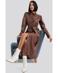NA-KD Brown Faux Leather Belted Shirt Midi Dress