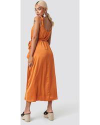 Trendyol Orange Girdle Detailed Midi Dress
