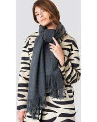 NA-KD Accessories Wool Blend Scarf - Grau