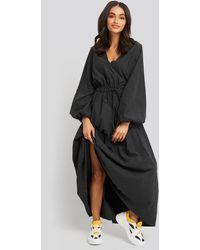 NA-KD Trend Ballon Sleeve V Front Dress - Schwarz